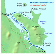 Hinchinbrook Island Transfers Map